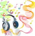 Beautiful illustration with headphones Stock Photos