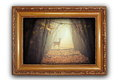Beautiful image with deer in wooden frame