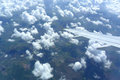 Beautiful image puffy clouds aerial view Stock Images