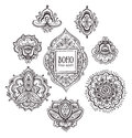 Beautiful Indian floral ornaments. Set of Ornamental Boho Style flowers and elements.