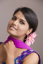 Beautiful indian girl in old traditional churidar studio background Royalty Free Stock Image