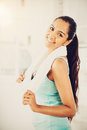 Beautiful indian woman fitness healthy happy young Stock Photo