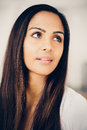 Beautiful indian woman portrait depressed thinking future Royalty Free Stock Photography