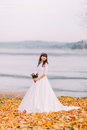 Beautiful innocent thoughtful bride in gorgeous white dress stands on fallen leaves at riverside Royalty Free Stock Photo