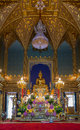 Beautiful inside thai temple with golden buddha statue in bangkok Stock Photos
