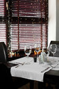Beautiful interior of modern restaurant european with nice and bright Royalty Free Stock Photography