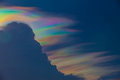 Beautiful iridescent cloud irisation or rainbow cloud on sky Stock Photography