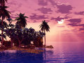 Beautiful island in the sunset Stock Image