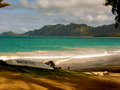 Beautiful island with surf board hawaii picture a rescue surfboard Stock Images