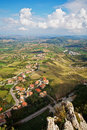 Beautiful italian landscape view of the san marino hills verti vertical shot Royalty Free Stock Photos