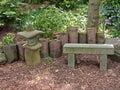 Beautiful Japanese garden romantic seating corner Royalty Free Stock Photo