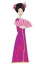 Beautiful japanese geisha girl in kimono vector illustration Royalty Free Stock Photo
