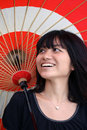 Beautiful Japanese with traditional umbrella Royalty Free Stock Images