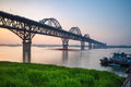 Beautiful jiujiang yangtze river bridge at dusk Royalty Free Stock Photo