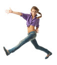 Beautiful Jumping girl Stock Images