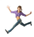 Beautiful Jumping girl Royalty Free Stock Photo