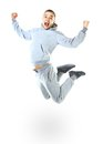 Beautiful jumping man isolated on white background Stock Photo