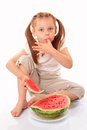 Beautiful kid eating watermelon Royalty Free Stock Photography