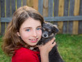 Beautiful kid girl portrait with puppy chihuahua doggy gray dog Stock Images