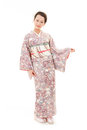 Beautiful kimono woman asian with white background Royalty Free Stock Images
