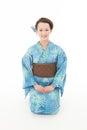 Beautiful kimono woman sitting asian with white background Stock Photos