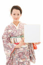 Beautiful kimono woman and white board asian in background Stock Images
