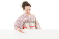 Beautiful kimono woman and white board young asian holding hands Royalty Free Stock Images