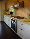 Beautiful Kitchen with Wood Floors Stock Images
