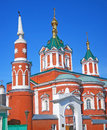 Beautiful kremlin in kolomna russia moscow region red orthodox church with golden crosses and cupolas a tower made of red Royalty Free Stock Images