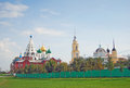 Beautiful kremlin panorama in kolomna russia moscow region several orthodox churches with golden green and blue cupolas blue sky Stock Images