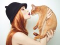 Beautiful lady with Abyssinian cat Royalty Free Stock Photo