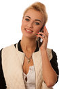 Beautiful lady with cell phone talking isolated over white released Stock Photography