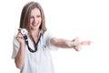Beautiful lady doctor holding stethoscope and syringe Royalty Free Stock Photo
