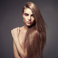 Beautiful lady fashion photo of with healthy long hair Royalty Free Stock Photography