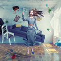 Beautiful lady flies young in zero gravity room photo combination creative concept Stock Image