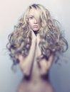 Beautiful lady with magnificent hair photo of young blond Royalty Free Stock Photos