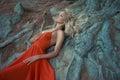 Beautiful lady and mighty tree fashion photo of Stock Image