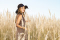 Beautiful lady model surrounded by meadow wilds Stock Photography