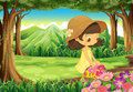 A beautiful lady picking up the flowers in forest illustration of Royalty Free Stock Images