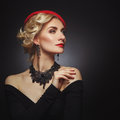 Beautiful lady in red beret Royalty Free Stock Photo