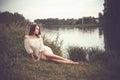 Beautiful lady at river Royalty Free Stock Photo