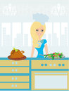Beautiful lady serving dinner illustration Royalty Free Stock Photo