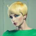 Beautiful lady with short haircut fashion photo of Royalty Free Stock Image