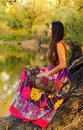 Beautiful lady sitting on the forest tree in long dress sunny autumn day Royalty Free Stock Photos