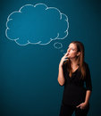 Beautiful lady smoking cigarette with idea cloud Royalty Free Stock Photo