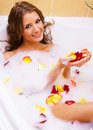 Beautiful lady taking a bath Stock Images