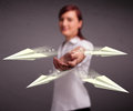 Beautiful lady throwing origami airplanes young Royalty Free Stock Photography