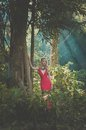 Beautiful lady in tropical forest young red dress Royalty Free Stock Image