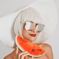 Beautiful lady with watermelon Royalty Free Stock Photo