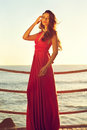 Beautiful lady young elegant woman in pink dress standing near sea Royalty Free Stock Photos
